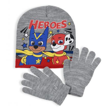Chlapčenská čiapka a rukavice PAW PATROL HEROES šedá
