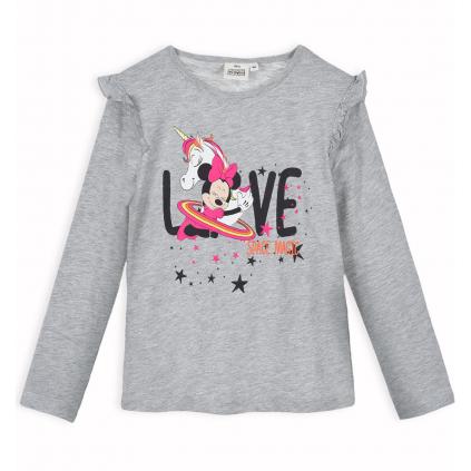 Dievčenské tričko z bio bavlny DISNEY MINNIE SPACE MAGIC šedé
