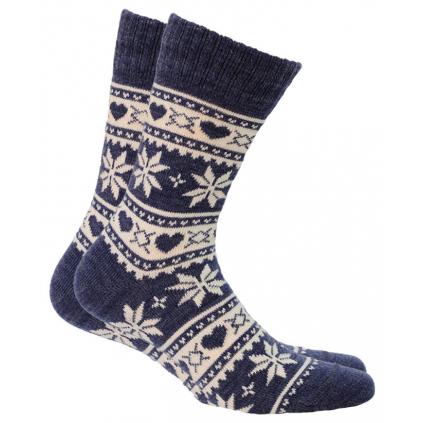 Vlnené ponožky WOLA VLOČKY, SRDIEČKA modré