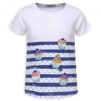 Dievčenské tričko GLO STORY CUPCAKES modré prúžky