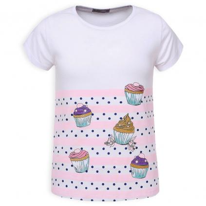 Dievčenské tričko GLO STORY CUPCAKES ružové prúžky