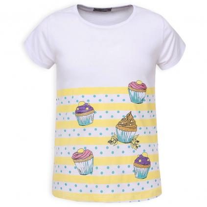 Dievčenské tričko GLO STORY CUPCAKES žlté prúžky