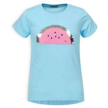 Dievčenské tričko s preklápacími flitrami GLO STORY MELÓN modré
