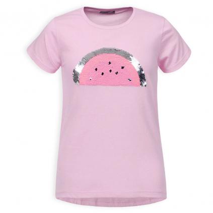 Dievčenské tričko s preklápacími flitrami GLO STORY MELÓN ružové