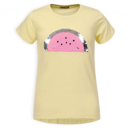 Dievčenské tričko s preklápacími flitrami GLO STORY MELÓN žlté