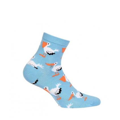 Dámske ponožky so vzorom WOLA PELIKÁNI modré