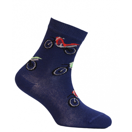 Chlapčenské ponožky so vzorom WOLA MOTORKY modré