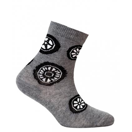 Vzorované chlapčenské ponožky WOLA BICYKLE šedý melír