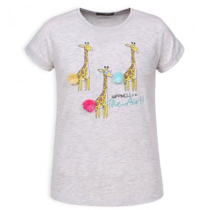 Dievčenské tričko GLO STORY ŽIRAFY šedý melír