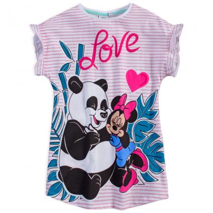 Dievčenské šaty DISNEY MINNIE PANDA LOVE ružový prúžok