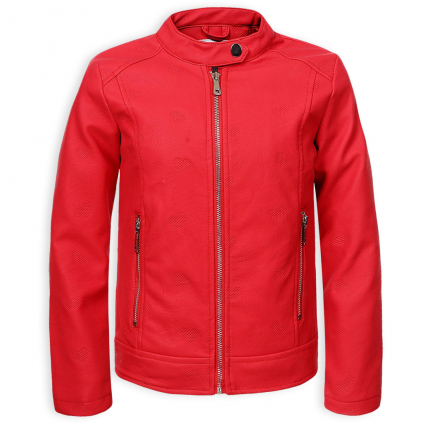 Dievčenská koženková bunda GLO STORY REBEL červená