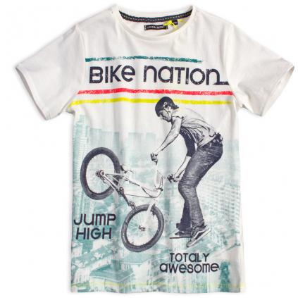 Chlapčenské tričko LEMON BERET BIKE NATION krémové