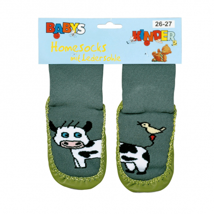 Ponožky s koženou podošvou SOCKS 4 FUN KRAVIČKA kaki