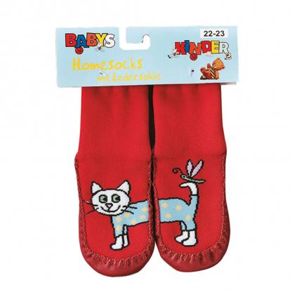 Ponožky s koženou podošvou SOCKS 4 FUN MAČIČKA červené
