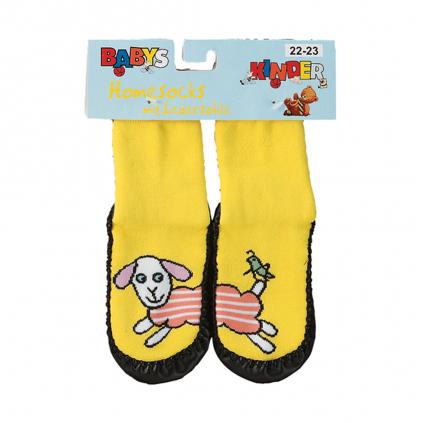 Ponožky s koženou podošvou SOCKS 4 FUN PSÍK žlté