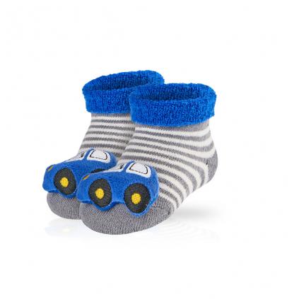 Dojčenské ponožky s hrkálkou SOCKS 4 FUN AUTÍČKO šedé prúžky
