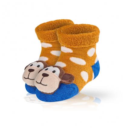 Dojčenské ponožky s hrkálkou SOCKS 4 FUN OPIČKA oranžové