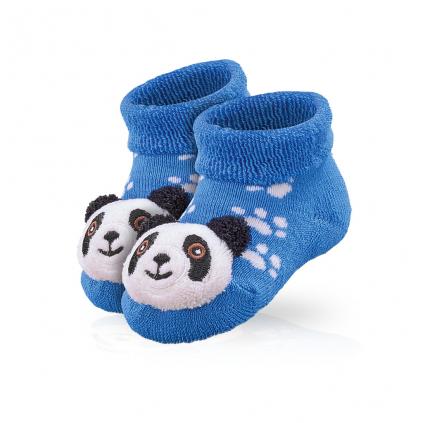 Dojčenské ponožky s hrkálkou SOCKS 4 FUN PANDA modré