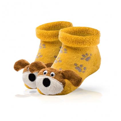Dojčenské ponožky s hrkálkou SOCKS 4 FUN PSÍK žlté