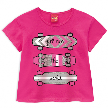 Dievčenský crop top KYLY GIRLS RUN  tmavo ružový