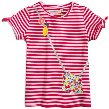 Dievčenské tričko z bio bavlny LEMON BERET KABELKA červené prúžky