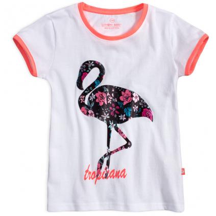 Dievčenské tričko z bio bavlny LEMON BERET TROPICANA biele