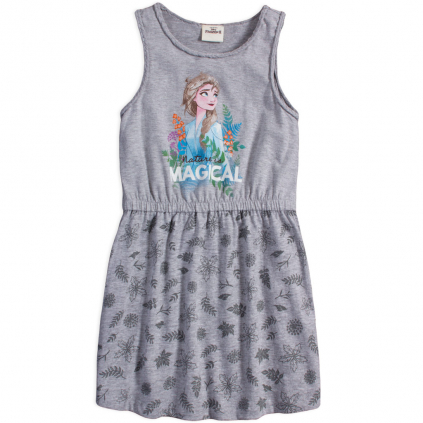 Dievčenské šaty z bio bavlny DISNEY FROZEN MAGICAL šedé
