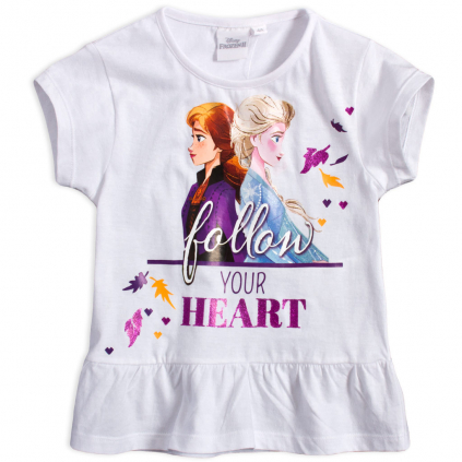 Dievčenské tričko DISNEY FROZEN FOLLOW biele
