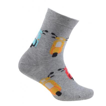 Chlapčenské vzorované ponožky WOLA SKÚTRY šedý melír