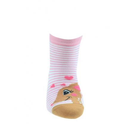 Dievčenské vzorované ponožky WOLA SŔŇA ružové