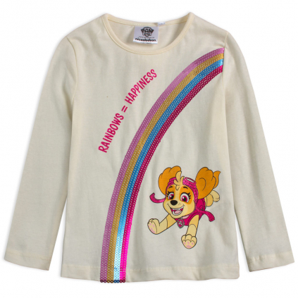 Dievčenské tričko PAW PATROL SKY RAINBOW biele