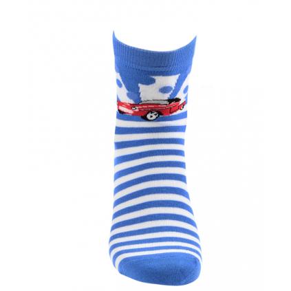 Chlapčenské ponožky so vzorom WOLA AUTO, PRÚŽKY modré