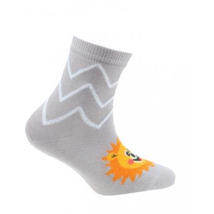 Dojčenské vzorované ponožky WOLA LEV šedé