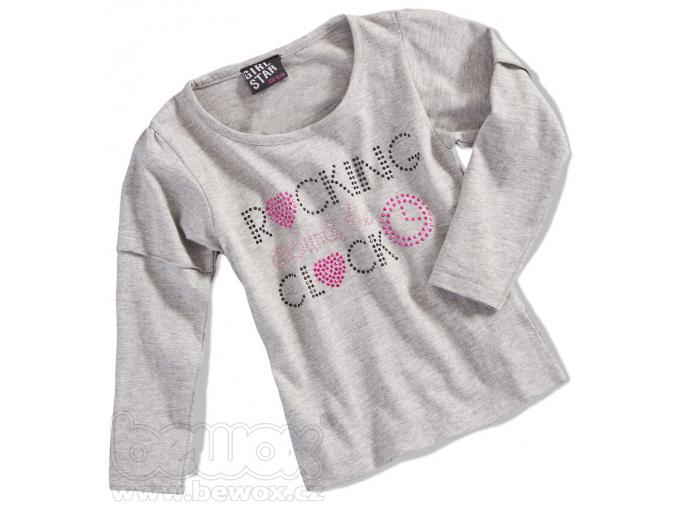 """Dievčenské tričko s dlhým rukávom GIRLSTAR """"CLOCK"""" sivé"""
