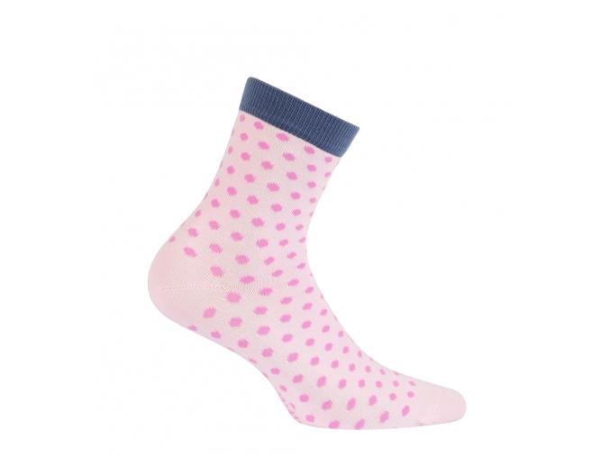 Dievčenská vzorované ponožky WOLA BODKY ružové