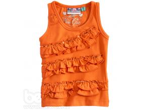 Dievčenské tričko bez rukávov KnotSoBad oranžové s volánmi