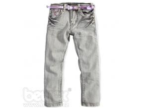 Dievčenské džínsy HW sivé s ružovým opaskom