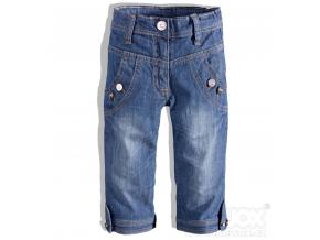 Dievčenské 3/4 nohavice s ozdobnými gombíkmi HW JEANS modré