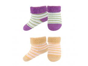 Dojčenské froté ponožky 2 páry fialová + béžová