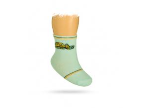 Dojčenské ponožky s obrázkom BULDOZÉRU, svetlomodré, WOLA