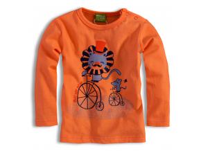 Dojčenské tričko dlhý rukáv PEBBLESTONE lev, oranžové