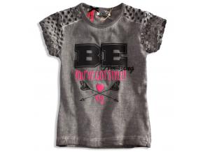 Štýlové dievčenské tričko s krátkym rukávom DIRKJE STYLISH, sivé