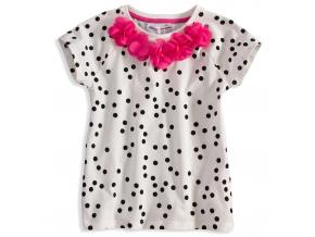 Tričko s krátkym rukávom MINOTI KVETINKY ružové