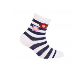 Vzorované dievčenské ponožky WOLA KVETINKY bílé