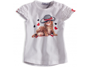Dievčenské tričko DIRKJE MAČIČKA biele