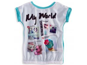 Dievčenské tričko s krátkym rukávom KNOT SO BAD MY WORLD tyrkysové