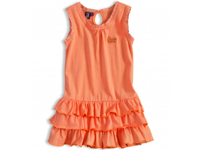 Dievčenské šaty bez rukávov PEBBLESTONE SUNNY DAY oranžové