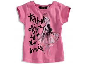 Tričko s krátkym rukávom pre dievčatká KNOT SO BAD SMILE ružové