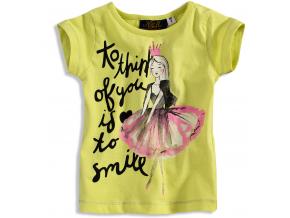 Tričko s krátkym rukávom pre dievčatká KNOT SO BAD SMILE žlté