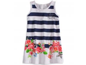 Dievčenské šaty bez rukávov KNOT SO BAD FLOWERS modrý pruh